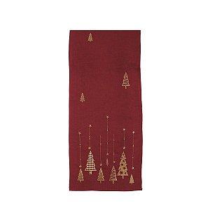 Caminho de Mesa de Natal Cromus Vermelho Pinheiros Dourados 35 x 175 cm