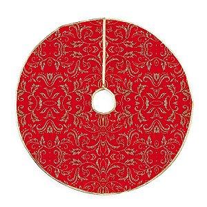 Saia para Árvore de Natal Vermelha Arabescos Dourado com Glitter 70cm