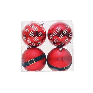 Bola de Natal Cromus Vermelha Cinto Noel HoHoHo 10cm c/4