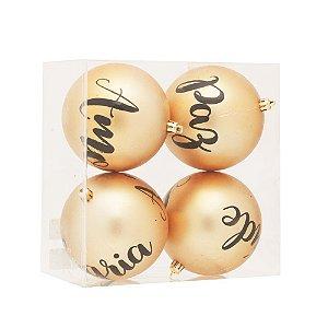 Kit Bola de Natal Cromus Frases Dourada Matte 10cm c/4