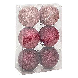 Kit Bola de Natal Cromus Rosa Claro, Pink e Malva Glitter 8cm c/6