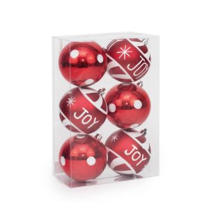 Kit Bola de Natal Cromus Vermelha Joy 8cm c/6
