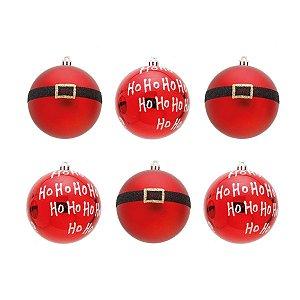 Kit Bola de Natal Cromus Vermelha Cinto Noel Hohoho 8cm c/6