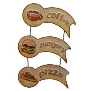 Placa de Metal Decorativa Coffee-Pizza-Burgers