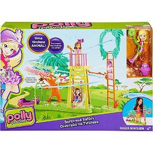 Polly Pocket Surpresa Safári - Diversão na Tirolesa - Mattel
