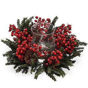 Candelabro de Mesa Cereja Vermelha - Santini Christmas