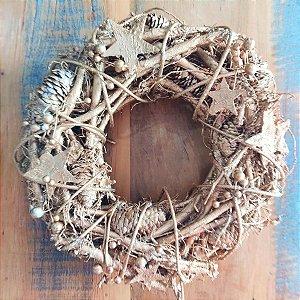 Guirlanda de Natal Dourada Rústica 35cm