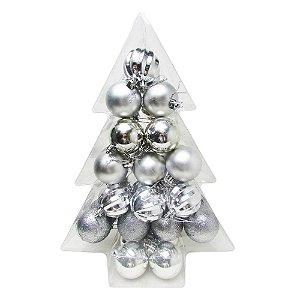 Conjunto de Bolas de Natal Prata Caixa Árvore 5cm 34 unidades - AV 09