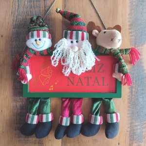 Guirlanda de Natal Papai Noel, Boneco de Neve e Rena