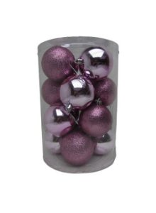 Conjunto de Bolas de Natal Rosa 7cm 16 unidades - AV 09