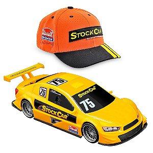 Carro Stock Car com Boné Laranja e Carro Amarelo Usual Plastic