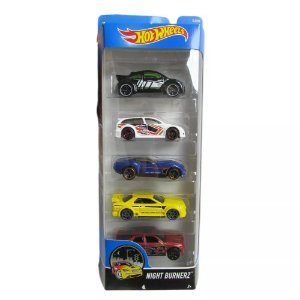 Pacote Com 5 Carros Night Burnez - Mattel