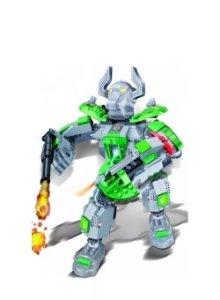 Blocos De Montar Robô Fighter Verde - Banbao