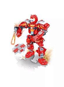 Blocos De Montar Robô Fighter Vermelho Banbao