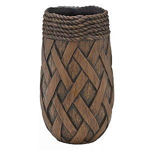 Vaso Decorativo Marrom Corda Torcida 31cm