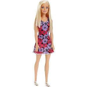 Barbie Fashion Vestido com Flores Roxas e Pink Mattel