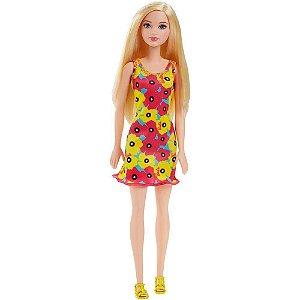 Barbie Fashion Vestido Flores Rosas e Amarelas Mattel