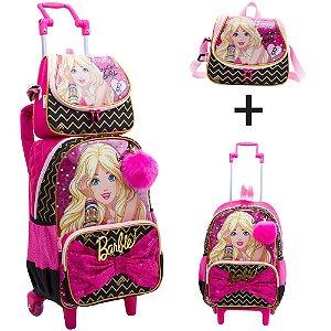 Kit Mochila e Lancheira Barbie Glitter e Pom pom Sestini 17Z