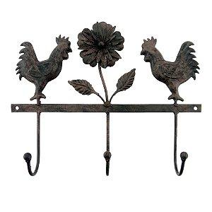 Cabideiro Metal Galos e Flor
