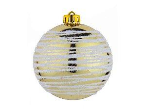 Bola De Natal Dourada Fio Gliter 8cm Com 4 Unidades Regina