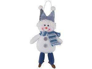 Boneco de Neve Azul Celeste 13cm Pendurar Regina
