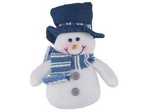 Boneco de Neve Azul Celeste 15cm Pendurar Regina