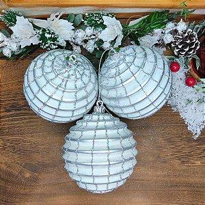 Bola de Natal Branca com Prata 10cm Kit 3 unidades