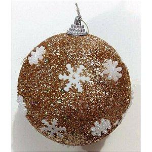 Conjunto de Bolas de Natal Dourada com Flocos de Neve Empório 7 peças