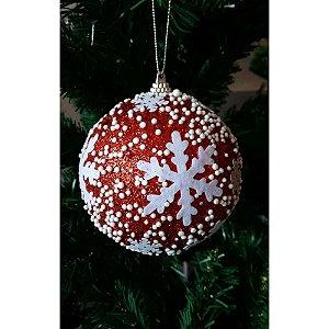 Conjunto de Bolas de Natal Vermelha com Flocos de Neve Empório 4 peças