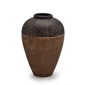 Vaso Decorativo Marrom De Cerâmica Grande Espressione