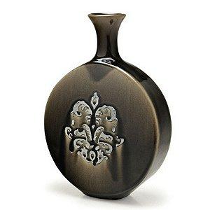 Vaso Decorativo Cerâmica Cinza Grande Espressione