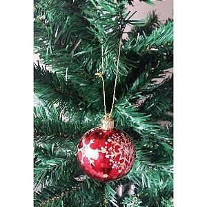Conjunto de Bola de Natal Vermelha com Glitter 6cm 4 peças