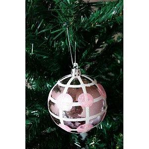 Conjunto de Bola de Natal Rosa 8cm 6 peças Empório das Flores