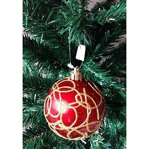 Conjunto de Bolas de Natal Vermelha Gold 8cm 6 peças Decorville
