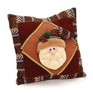 Almofada De Natal Marrom Papai Noel