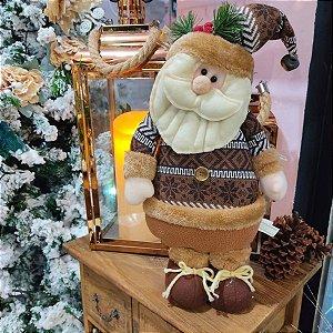 Papai Noel Decorativo Tecido com Malha Marrom
