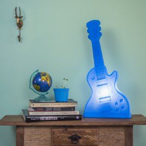 Abajur Luminária Guitarra Azul Usare