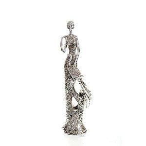 Peça Decorativa Dama Prata Com Ave