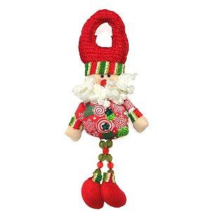 Enfeite para Porta Papai Noel Vermelho Pernas Longas