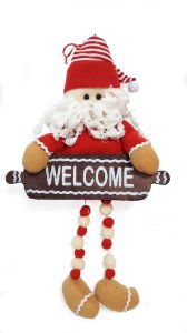 Papai Noel De Porta Com Placa  Welcome Magizi