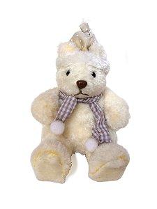 Urso Natalino Decorativo Branco Sentado