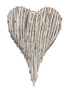 Enfeite Para Porta Coração Branco Rústico Grande Strech