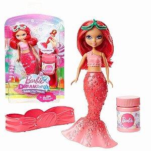 Barbie Dreamtopia Mini Sereia Vermelha Faz Bolhas Mattel