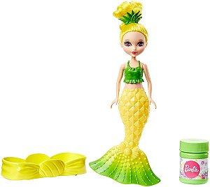 Barbie Dreamtopia Mini Sereia Amarela Solta Bolhas Mattel