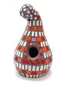 Casinha De Passarinho Cerâmica Porongo Mosaico Branco