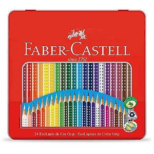 Lápis de Cor 24 Cores Grip na Lata Faber-Castell