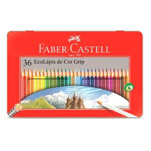 Lápis de Cor 36 Cores Grip na Lata Faber-Castell
