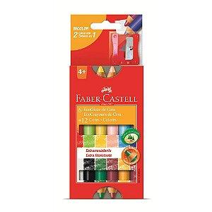 Lápis Giz de Cera Faber-Castell Bicolor 12 Cores