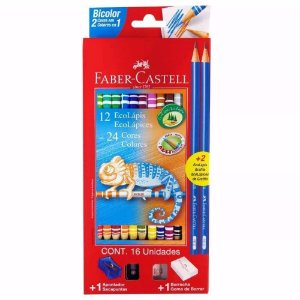 Lápis de Cor Bicolor 24 Cores Faber-Castell Redondo