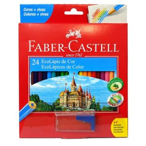 Lápis De Cor Faber-Castel 24 Cores Com Apontador Sextavado